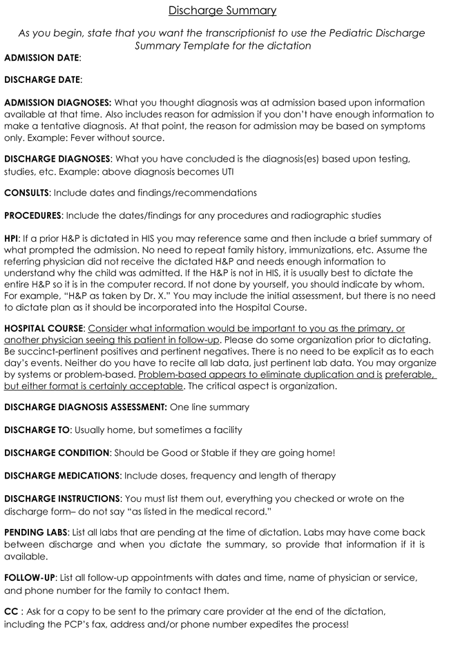 Discharge summary templates 4 samples to create discharge summary ...