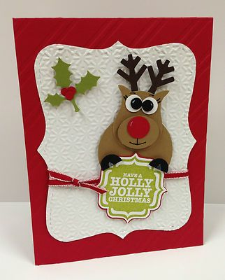 Reindeer Punch Art Stampin Up Christmas Card Kit (5 cards)