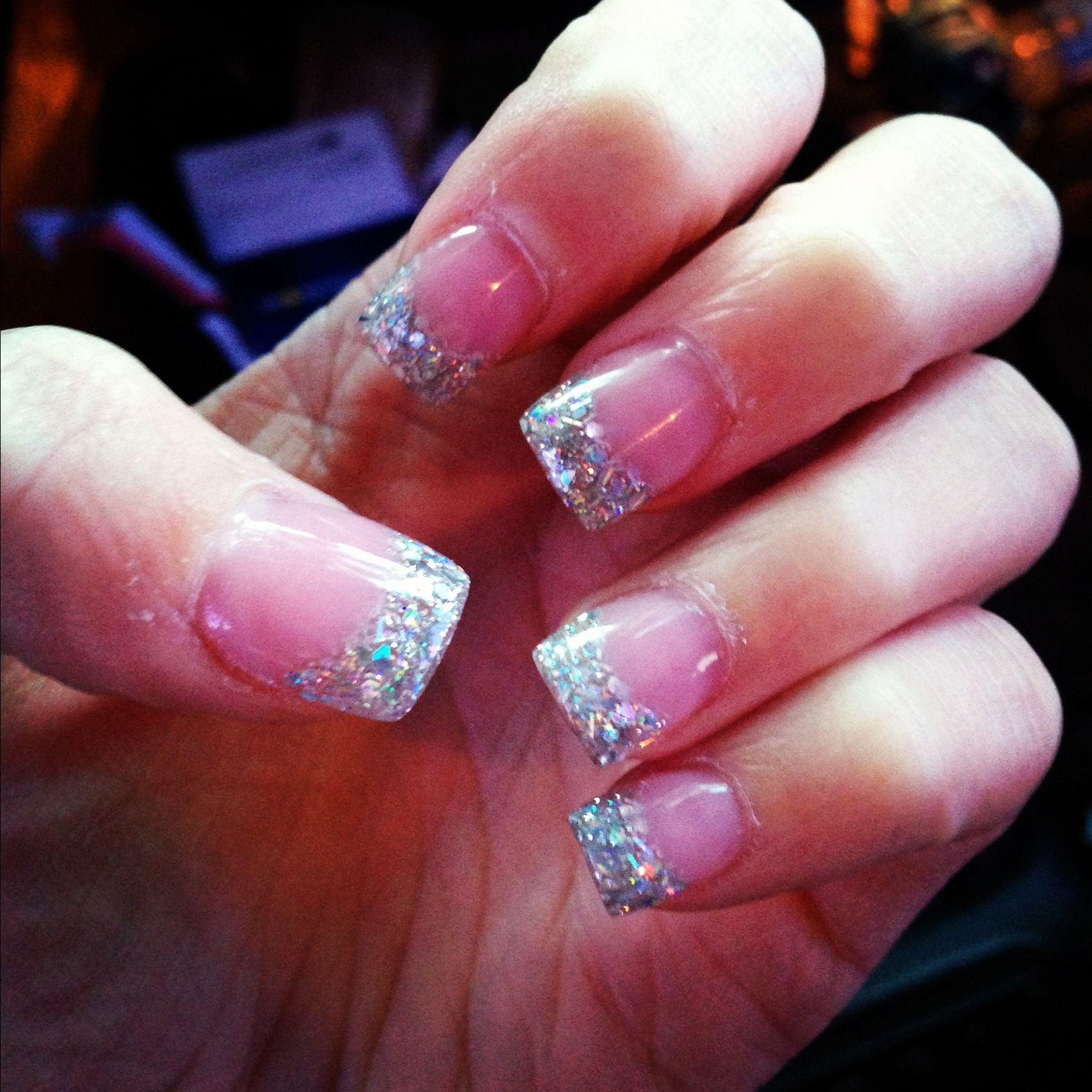 Pink And White Acrylic With Glitter Tips