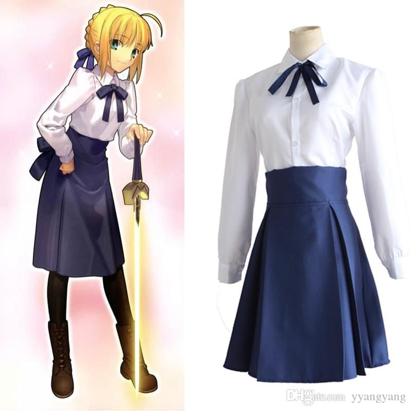 Fate Stay Night Arthur Saber Cosplay Costume Casual Dress Skirts Shirt Anime