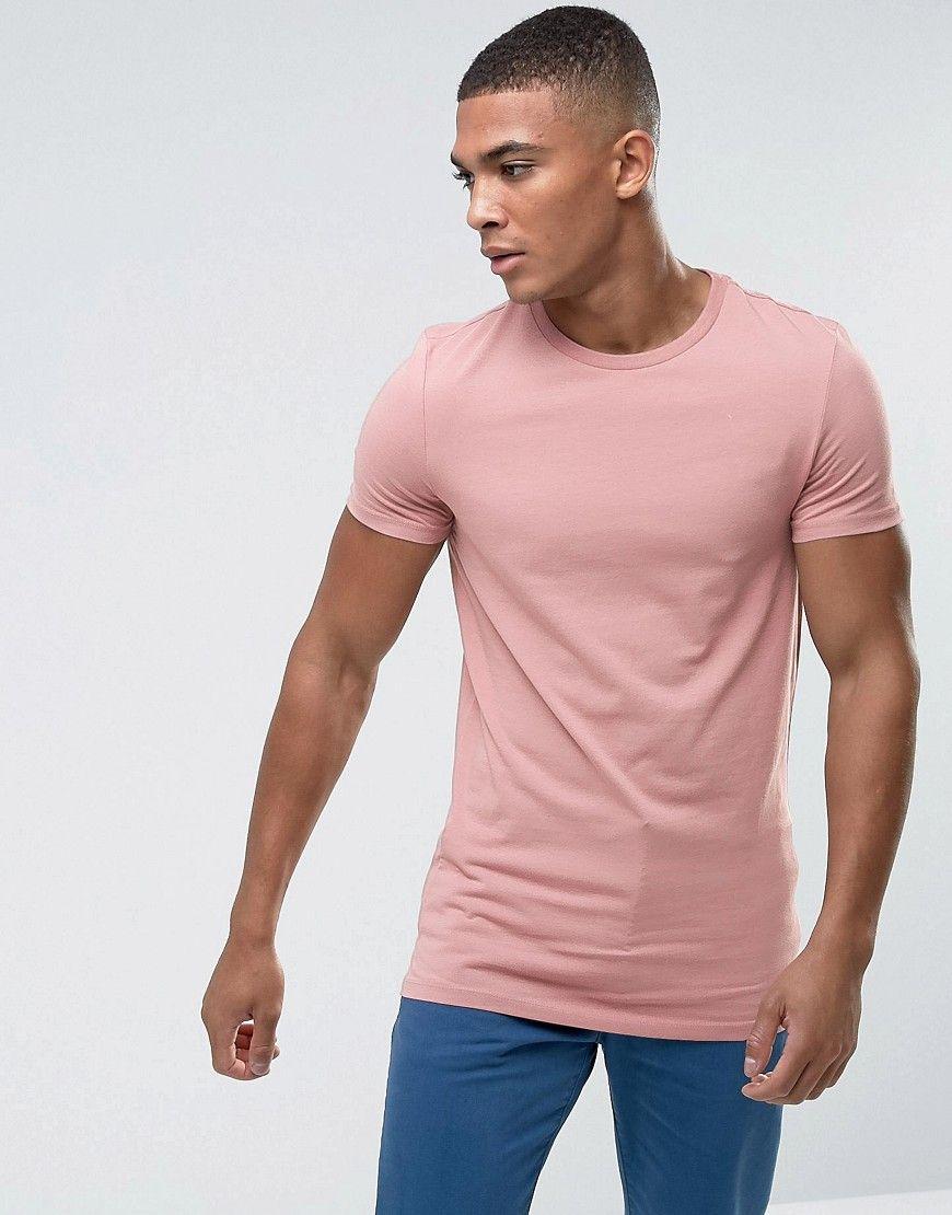 Asos longline muscle fit tshirt in pink pink mens