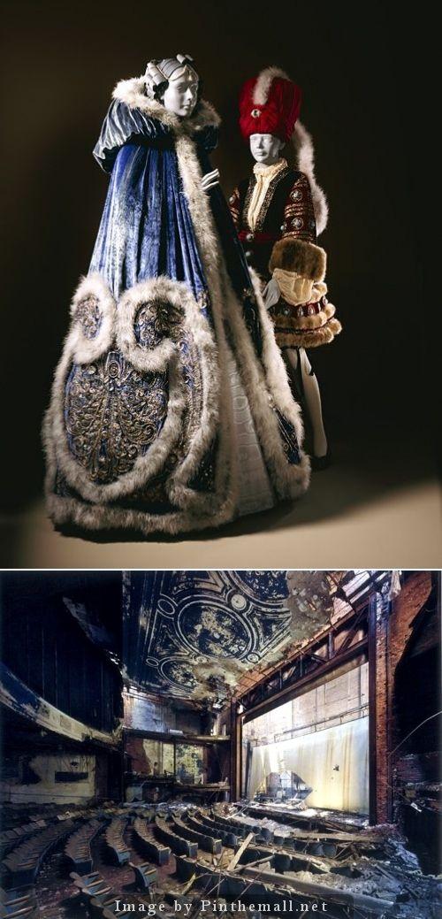 Erté (Romain de Tirtoff, Russia, 1892–1990). Costume for Ganna Walska as Manon Lescaut in 'Manon', Act III; Woman's Cape and Petticoat, 1920. Silk velvet, marabou feathers, metallic thread embroidery. LACMA/Decaying Detroit - created via http://pinthemall.net