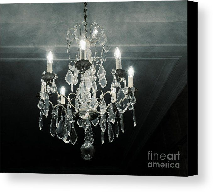 Paris Crystal Chandelier Haunting Dreamy Blue Gray Sparkling Fine Art Canvas Print By Kathy Fornal Grey