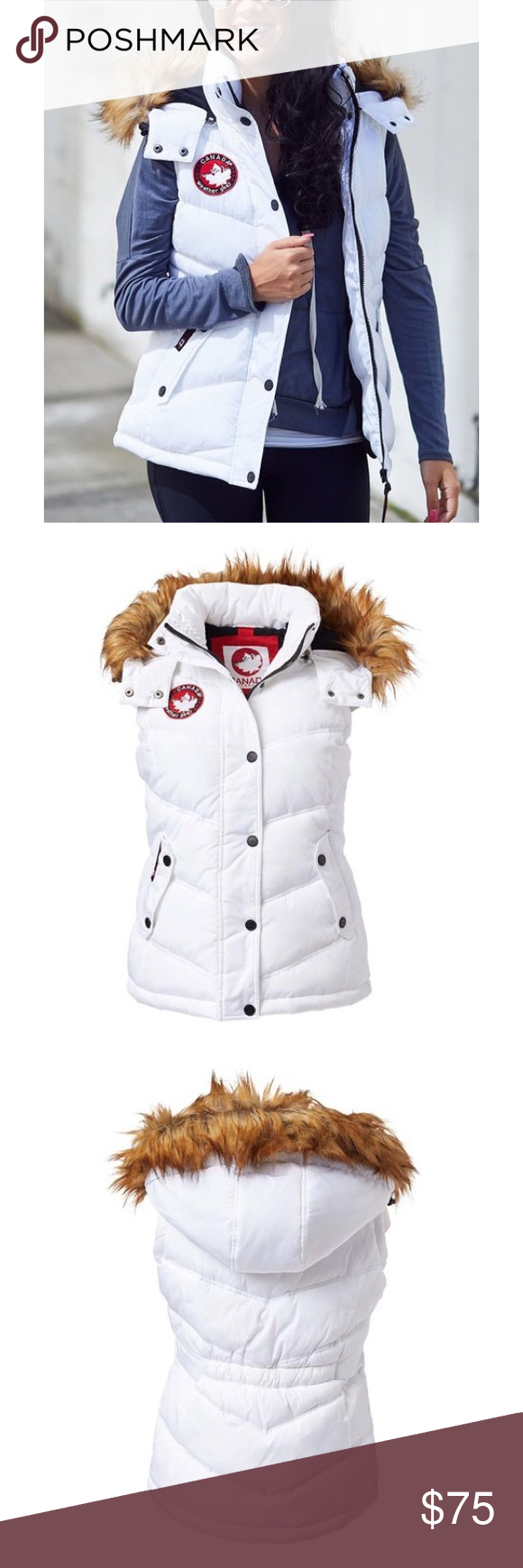 Nwt Canada Weather Gear Hooded Puffer Vest Sz M Clothes Design Puffer Vest How To Wear [ 1740 x 580 Pixel ]