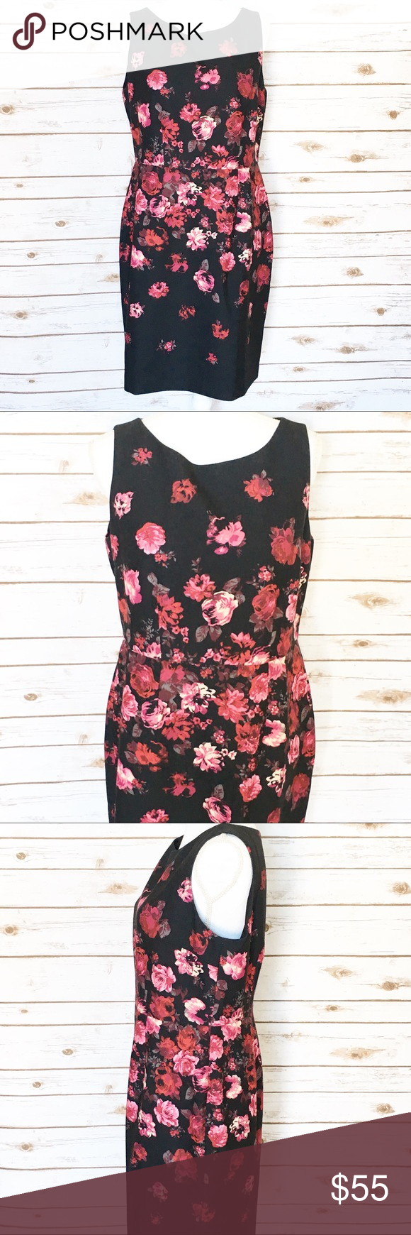 Talbots black floral sheath dress pretty pink and red roses on black