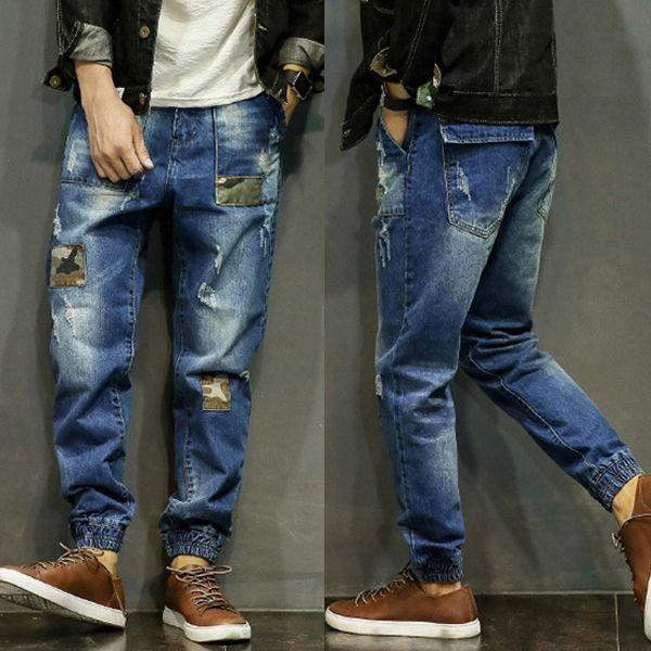 >> Click to Buy << Hot New Men Punk applique jeans men's Rocking hip-hop pants Men mid waist beam pants Mens personality loose harem pants 29-42 #Affiliate