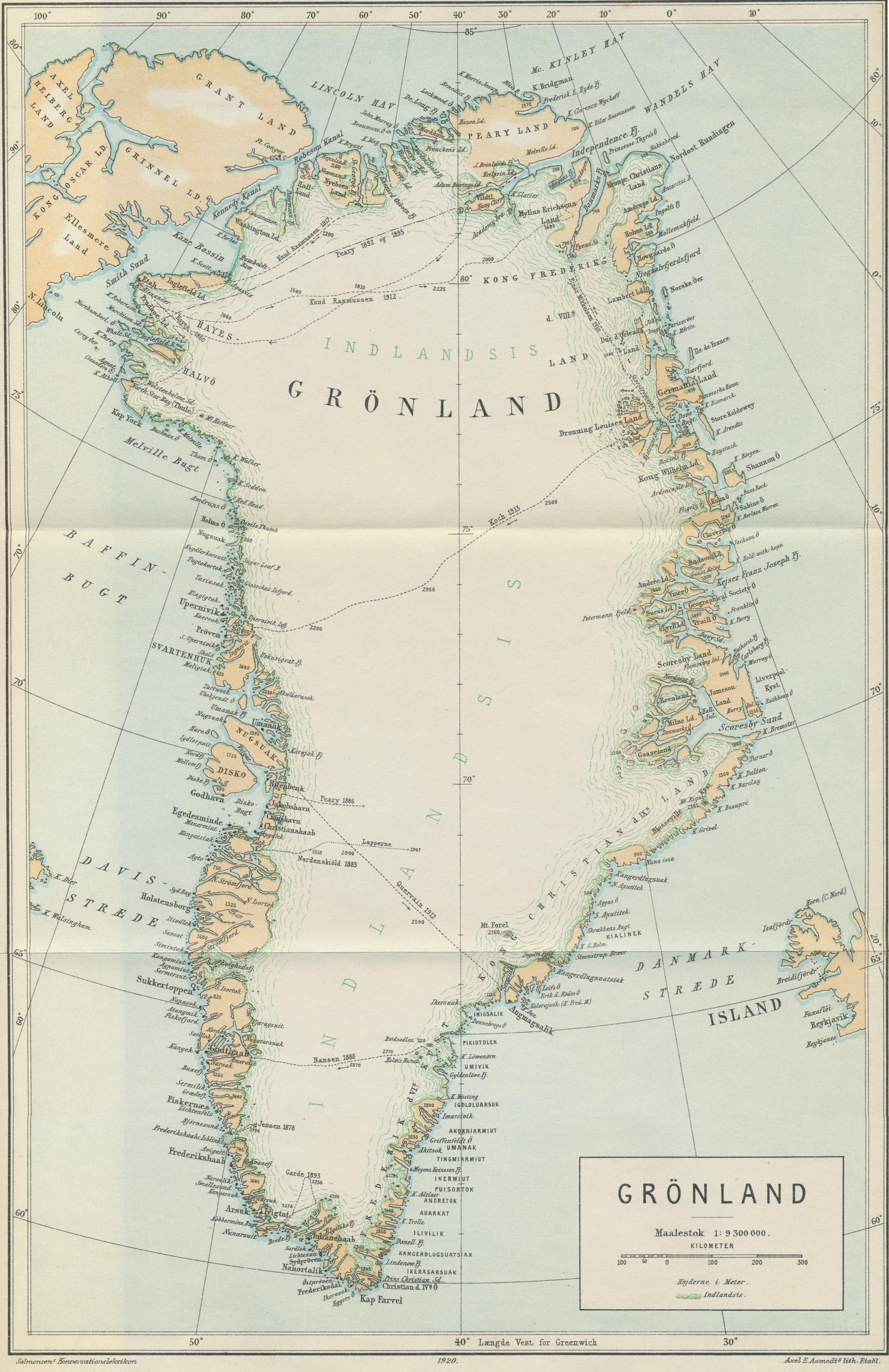 1920 Map of Greenland from Salmonsens Konversationsleksikon