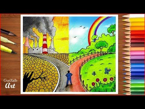 Save Environment Save Nature Poster Chart Drawing For School Students Very Easy Step By Step You With Images Save Water Poster Drawing Earth Day Drawing Earth Drawings
