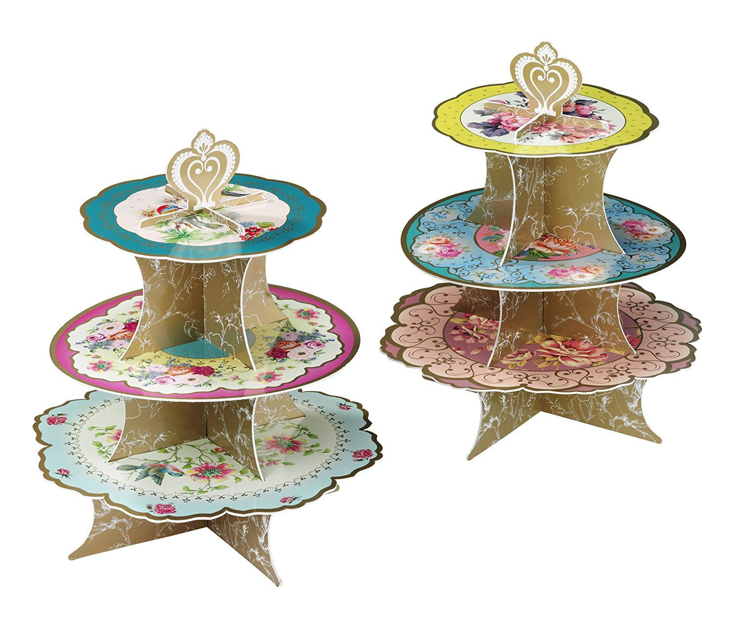 Amazon.com: Talking Tables Truly Scrumptious Floral Cake Stand (3 ...