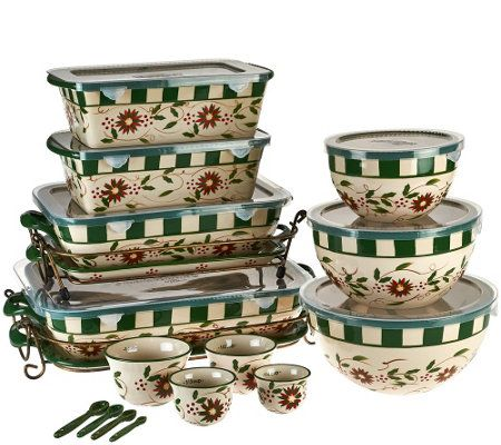 Temp-tations Old World 20-piece Bakeware Set in Poinsettia