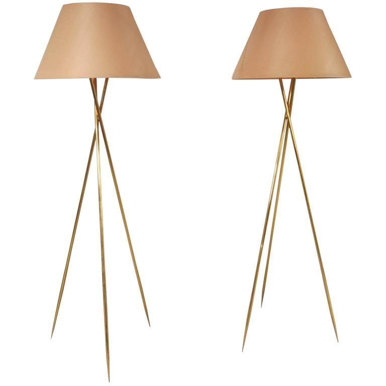 Brass tripod floor lamps usa circa 1960 floor lamp tripod and brass tripod floor lamps usa circa 1960 mozeypictures Images