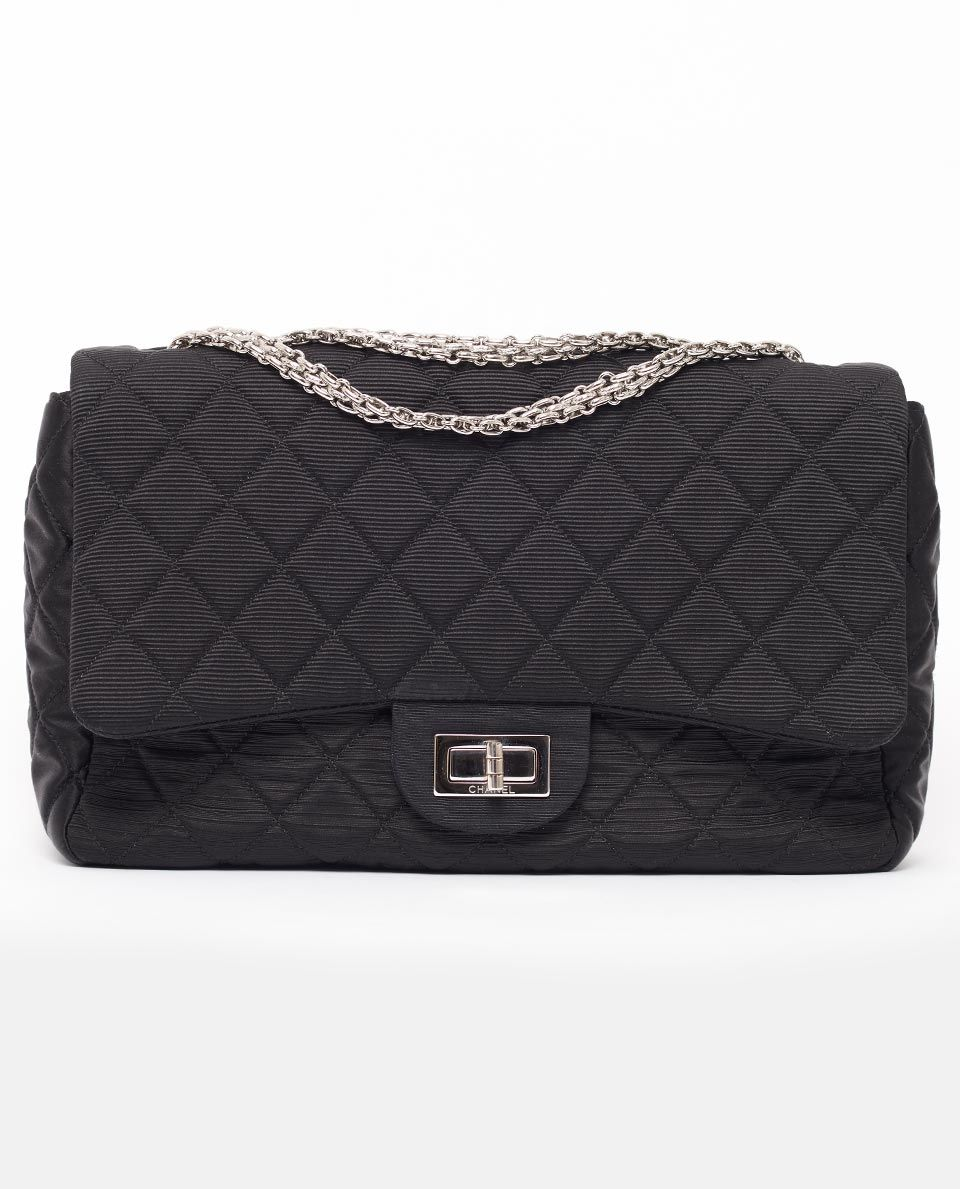 The Most Coveted Bag In World Is Sought After Vintage Chanel Satin Grosgrain 2 55 Jumbo Classic Flap Size This Por 1895