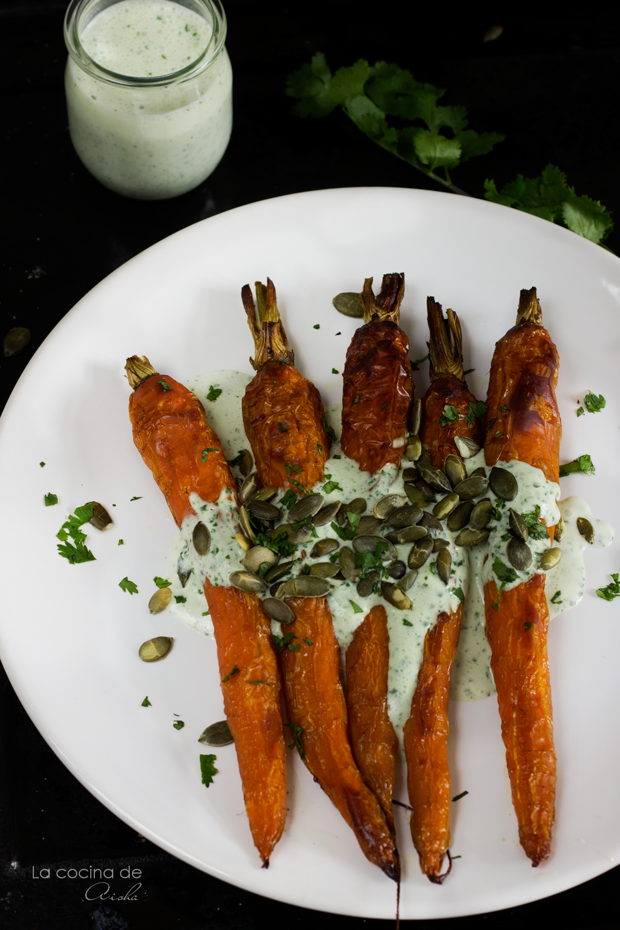 Roasted carrots with yogurt sauce