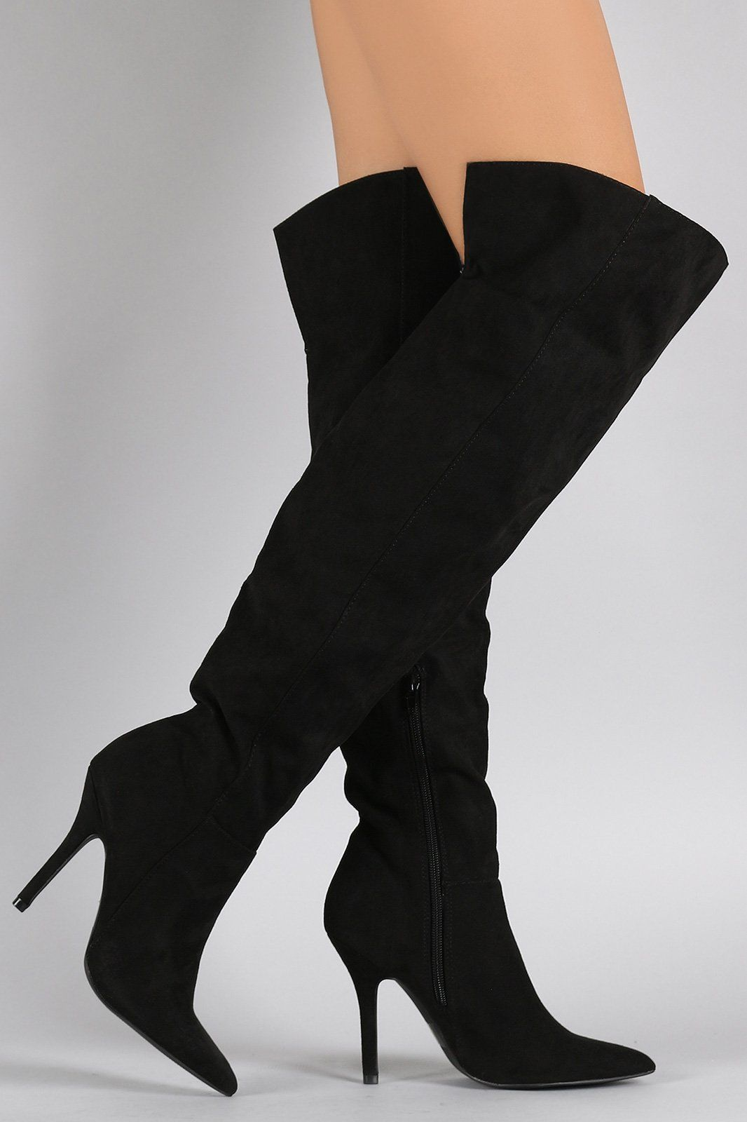 78b292a3499 Qupid Suede Pointy Toe Over-The-Knee Stiletto Boots