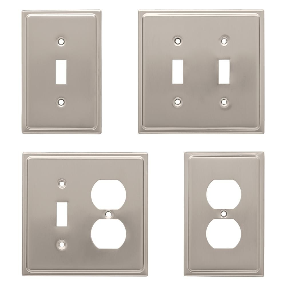 Liberty Nickel 1 Gang Duplex Outlet Wall Plate 1 Pack 126362 The Home Depot Plates On Wall Liberty Hardware Outlet Covers