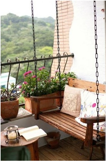 hanging swing Small balcony design, Apartment balcony