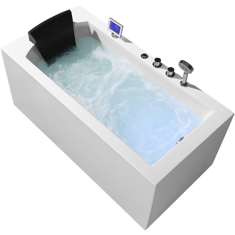 Eago 71 In Acrylic Flatbottom Whirlpool Bathtub In White Am189etl R The Home Depot Whirlpool Bathtub Soaking Bathtubs Whirlpool Tub