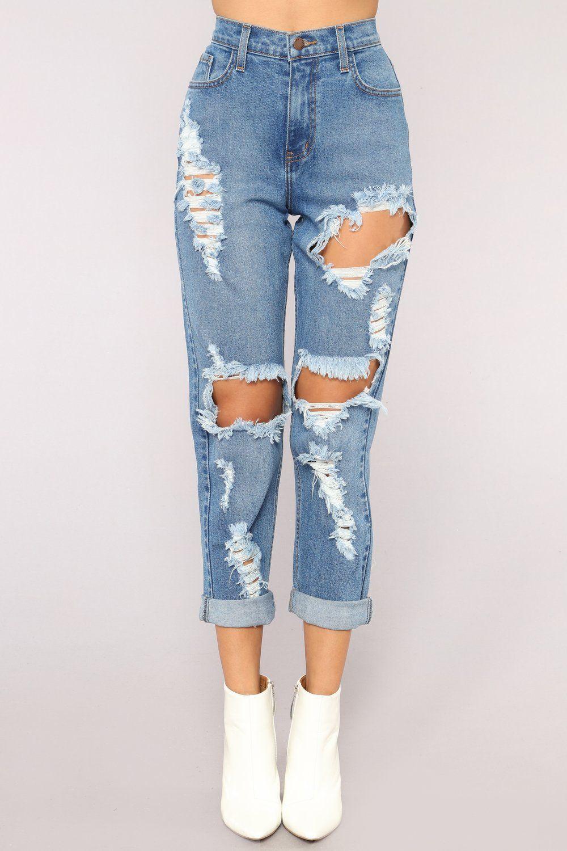 Driving Me Crazy Mom Jeans Medium Blue Wash Cute Ripped Jeans Ripped Mom Jeans Ripped Jeans Outfit