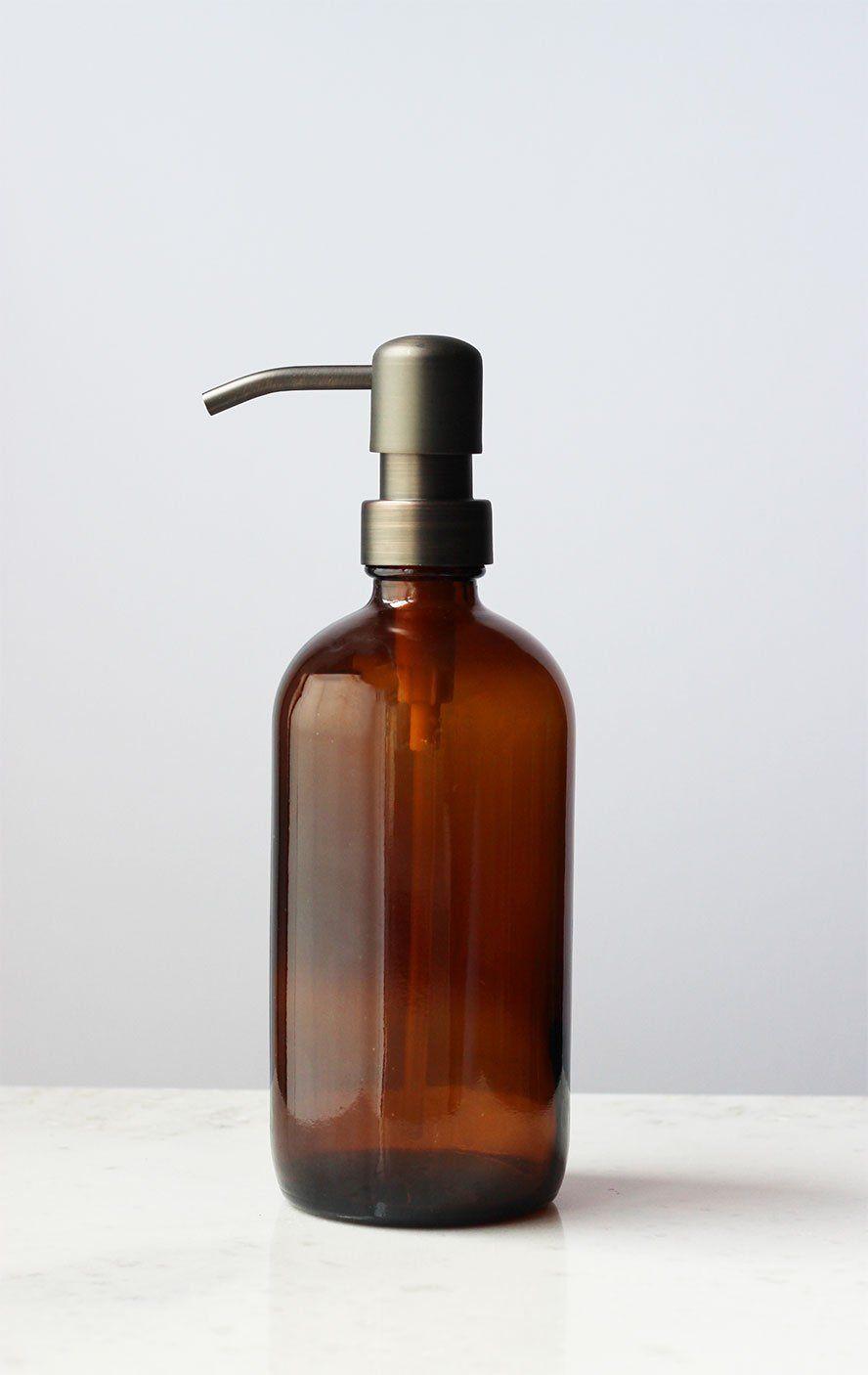Amazon.com - Farmhouse Glass Soap Dispenser (Amber Glass Bronze Pump ...