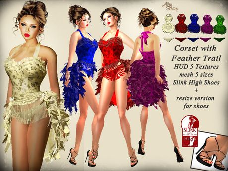 *Aly's Shop* Corset with Feather Tail + Slink High Shoes
