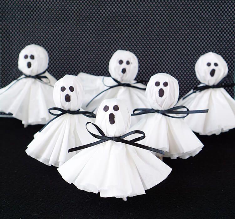 Coffee Filter Ghost Lollipops  Fun Halloween Treats Coffee Filters