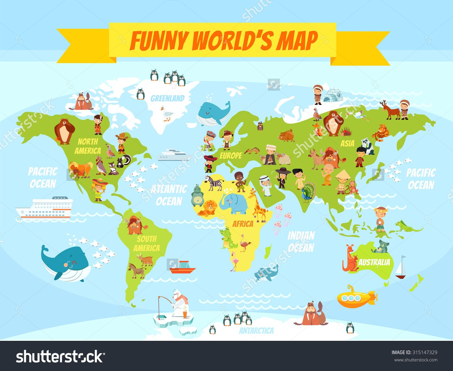 Stock vector funny cartoon world map with people of various stock vector funny cartoon world map with people gumiabroncs Image collections