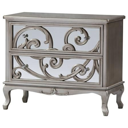 Rococo Large Chest Of Drawer Antique Silver Glass