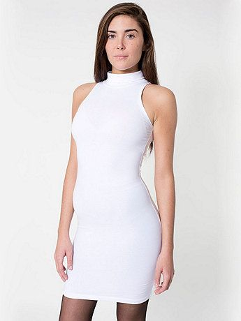a6cb00b10ce19 Cotton Spandex Jersey Sleeveless Turtleneck Dress