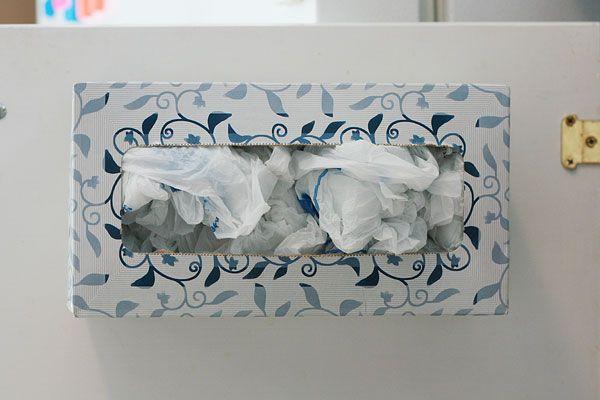 Turn A Tissue Box Into A Plastic Bag Dispenser Plastic Bag Dispenser Plastic Bag Holders Storing Plastic Bags