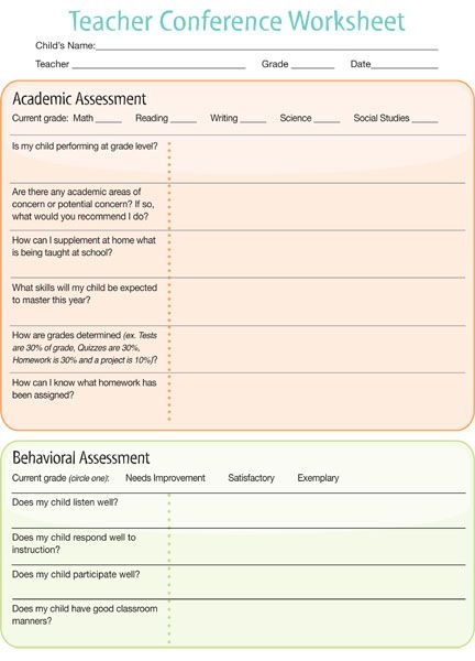 Parent Teacher Conference Worksheet Counseling Ideas Pinterest