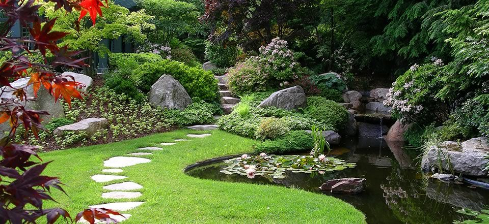 Architectures stunning garden with stepping stones and for Japanese garden pond design