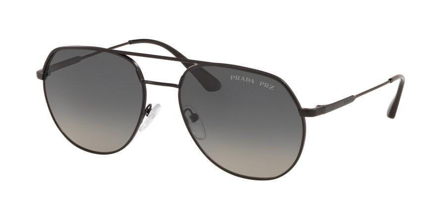 Prada CONCEPTUAL PR55US Irregular Sunglasses – 57-18-140 / 1BO5W1-MATTE BLACK – Polarized