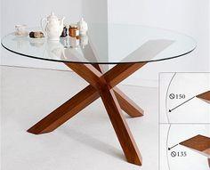 Mesa de comedor redonda colonial nutt material madera de for Mesa circular extensible