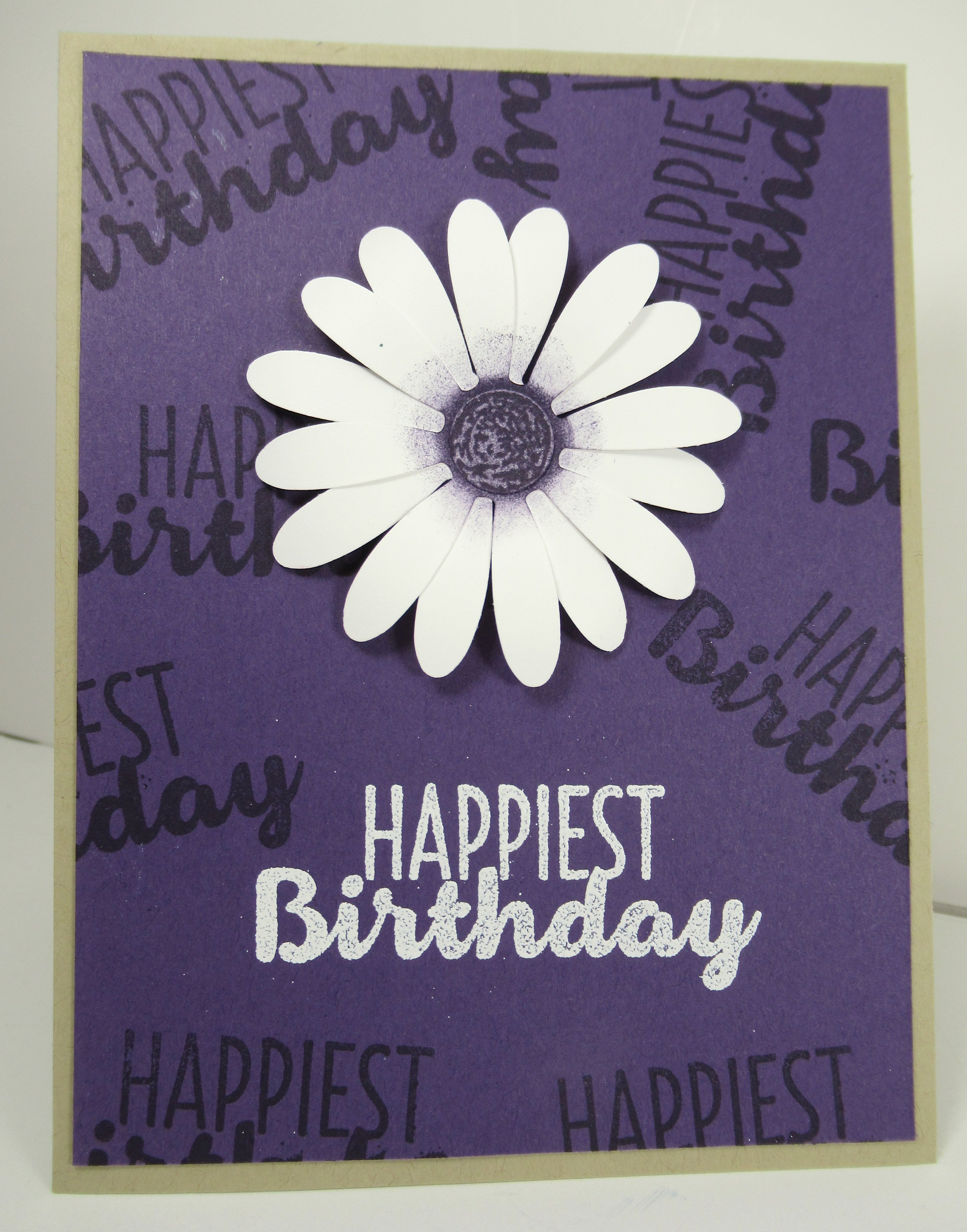 Daisy Delight in Eggplant Envy happy birthday card for a friend