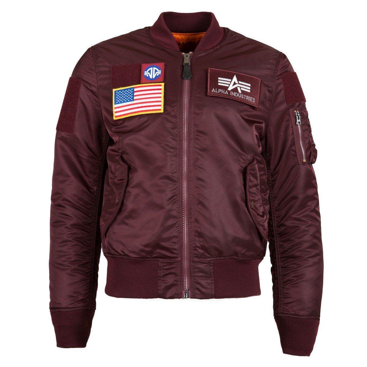 Alpha Industries Men's Maroon MA-1 Flex Slim Flight Jacket