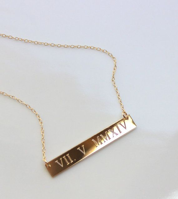 WEDDING DATE GOLD bar Necklace Roman Numeral Personalized necklace
