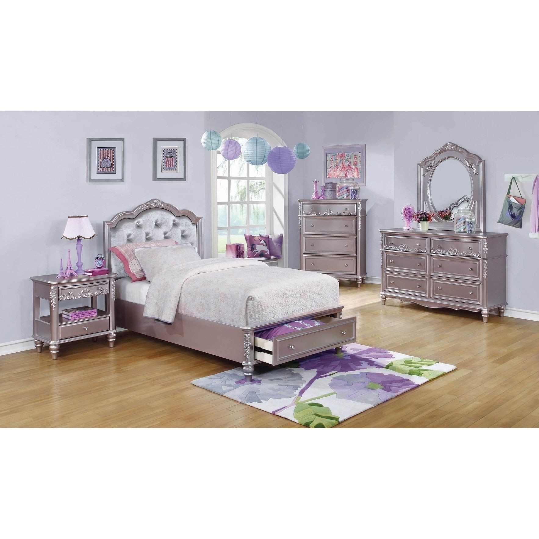 Cheap Bedroom Set Twin Luxury Seraphina Metallic Lilac 4 Piece Bedroom Set With 2 Bedroom Set Platform Bedroom Sets Kids Bedroom Sets