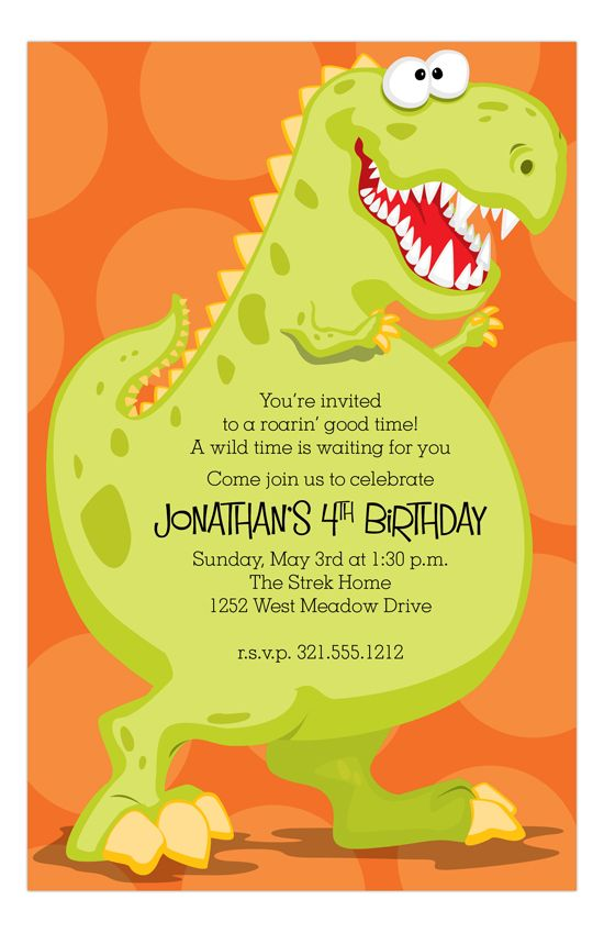 Your Little Boy Is Turning 4 And He Wants A Dinosaur Party This Dinoroar Kids Birthday Invitation From Paper So Pretty Cute Start To The 4th