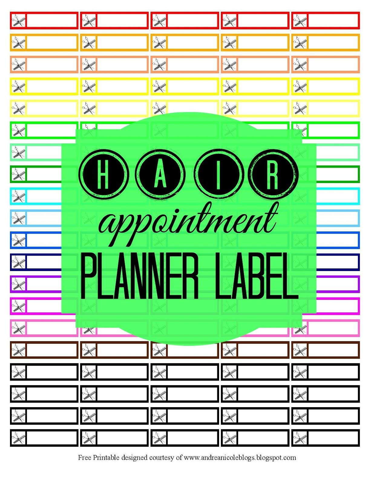 Free Printable Hair Appointment Reminder Planner Stickers Andrea