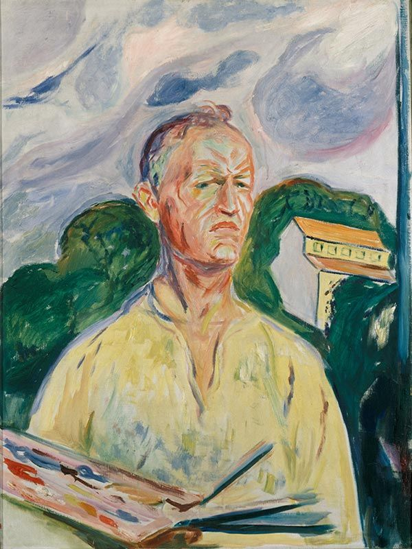 Edvard Munch , Self-Portrait with Palette 1926 / Oil on canvas / 90 x 68 cm Private collection