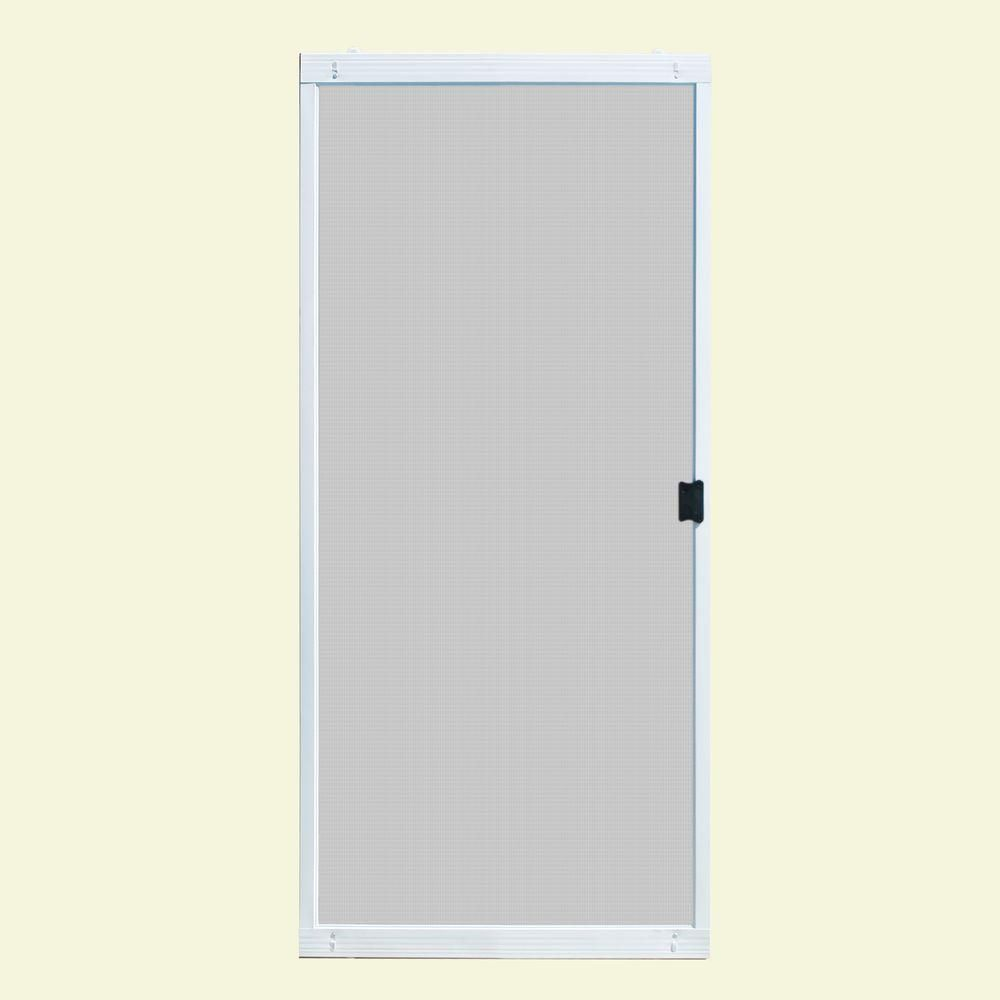 Unique Home Designs 30 In X 80 In Standard White Metal Sliding Patio Screen Door I Sliding Patio Screen Door Sliding Screen Doors Patio Screen Door