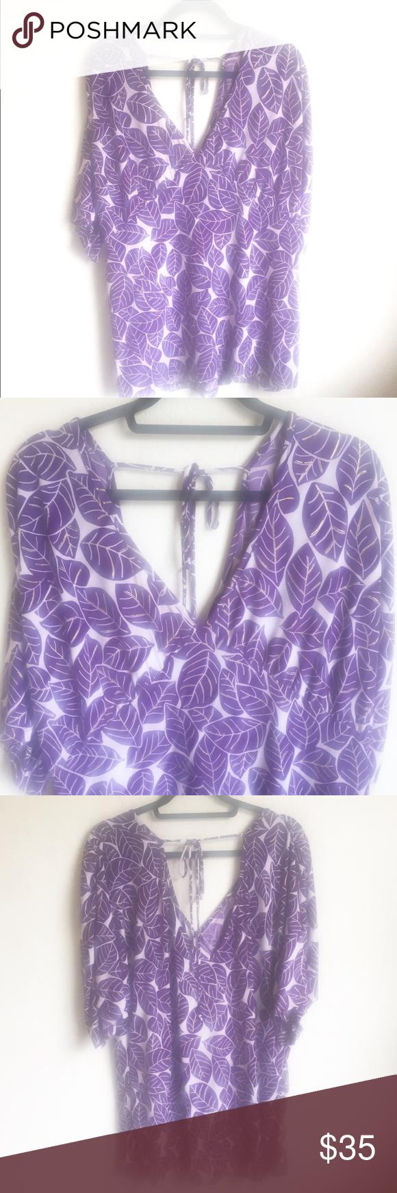 15b9b4672e648 Torrid Kimono Purple Leaves Top 3X Light weight top