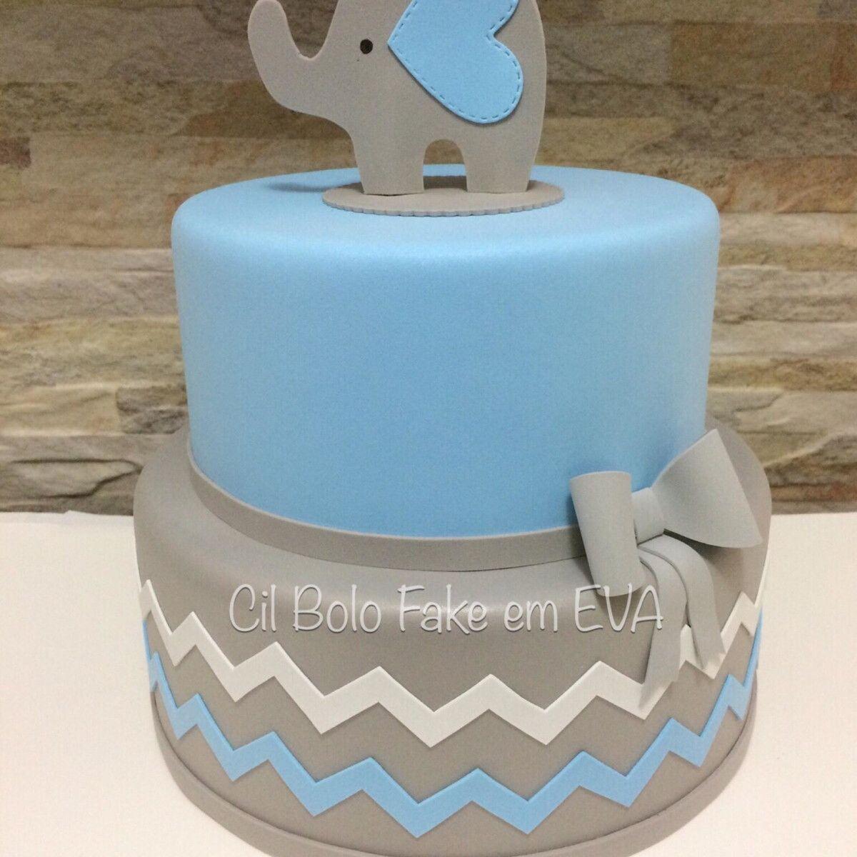 Resultado De Imagem Para Bolo Cha De Bebe Elefantinho Azul E Cinza