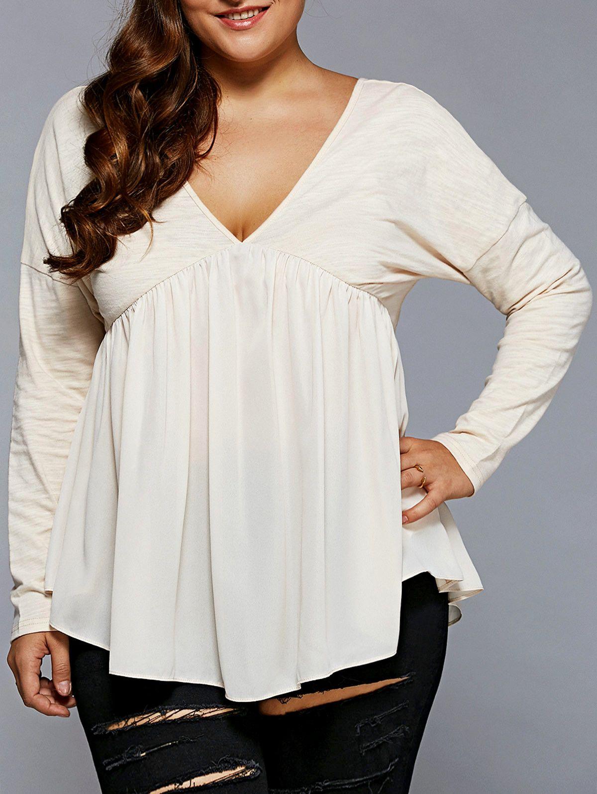 15 75 Plus Size Open Back Smock Blouse Plus Size Outfits Plus Size Blouses Fashion