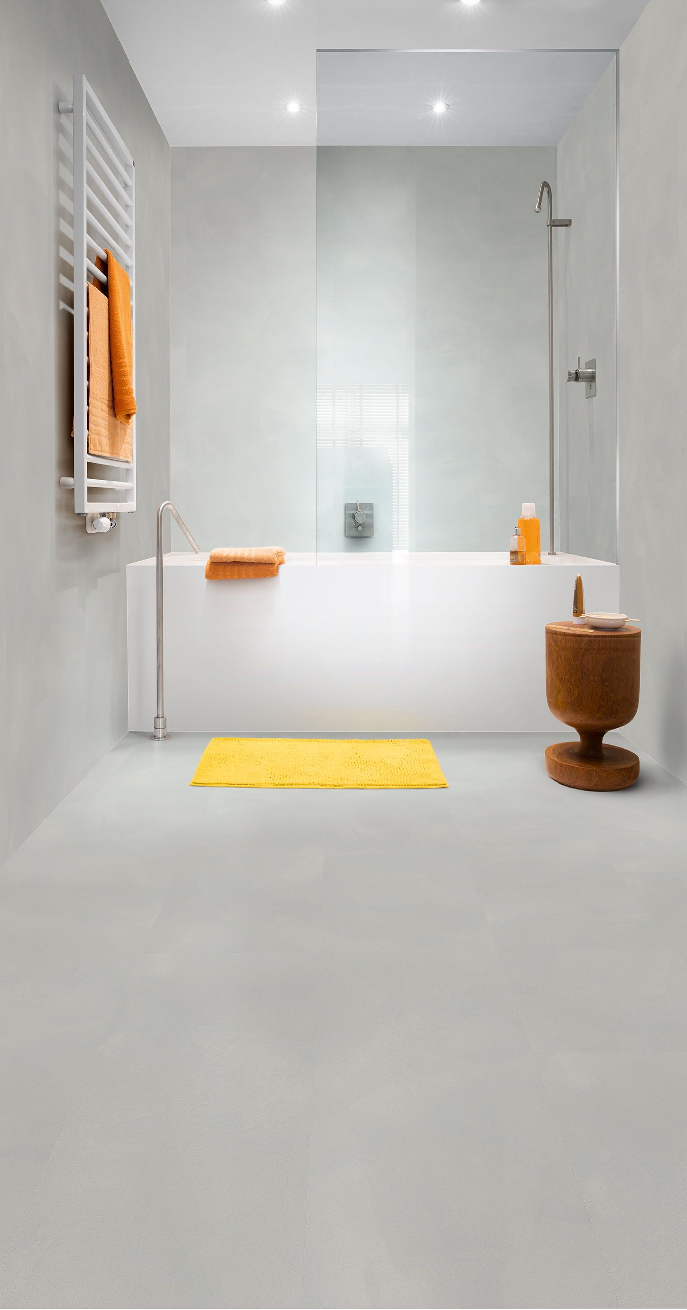 This vinyl flooring gives a modern bathroom a great prof… | Our ...
