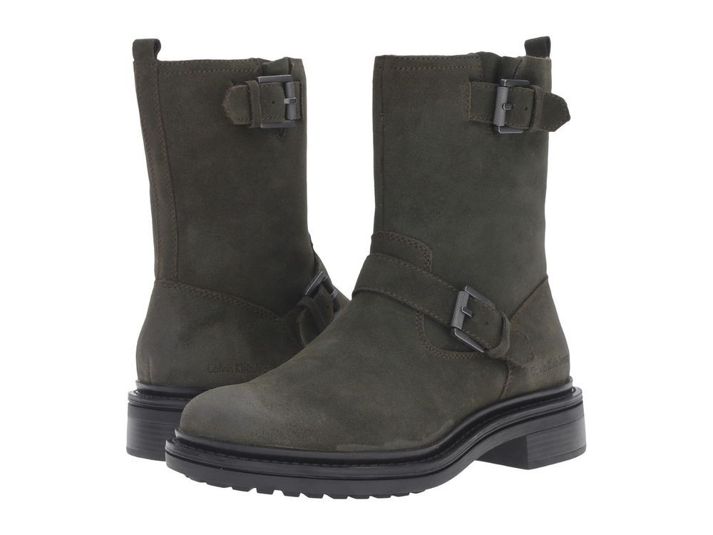 Calvin Klein Jeans Mens Boots Kris Leather Military Oiled