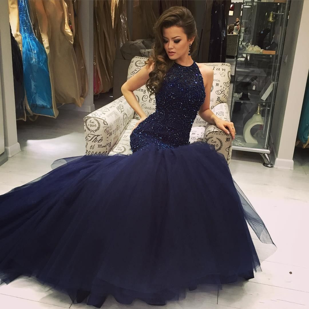 Navy blue prom dresses beading long prom dressesopen back prom