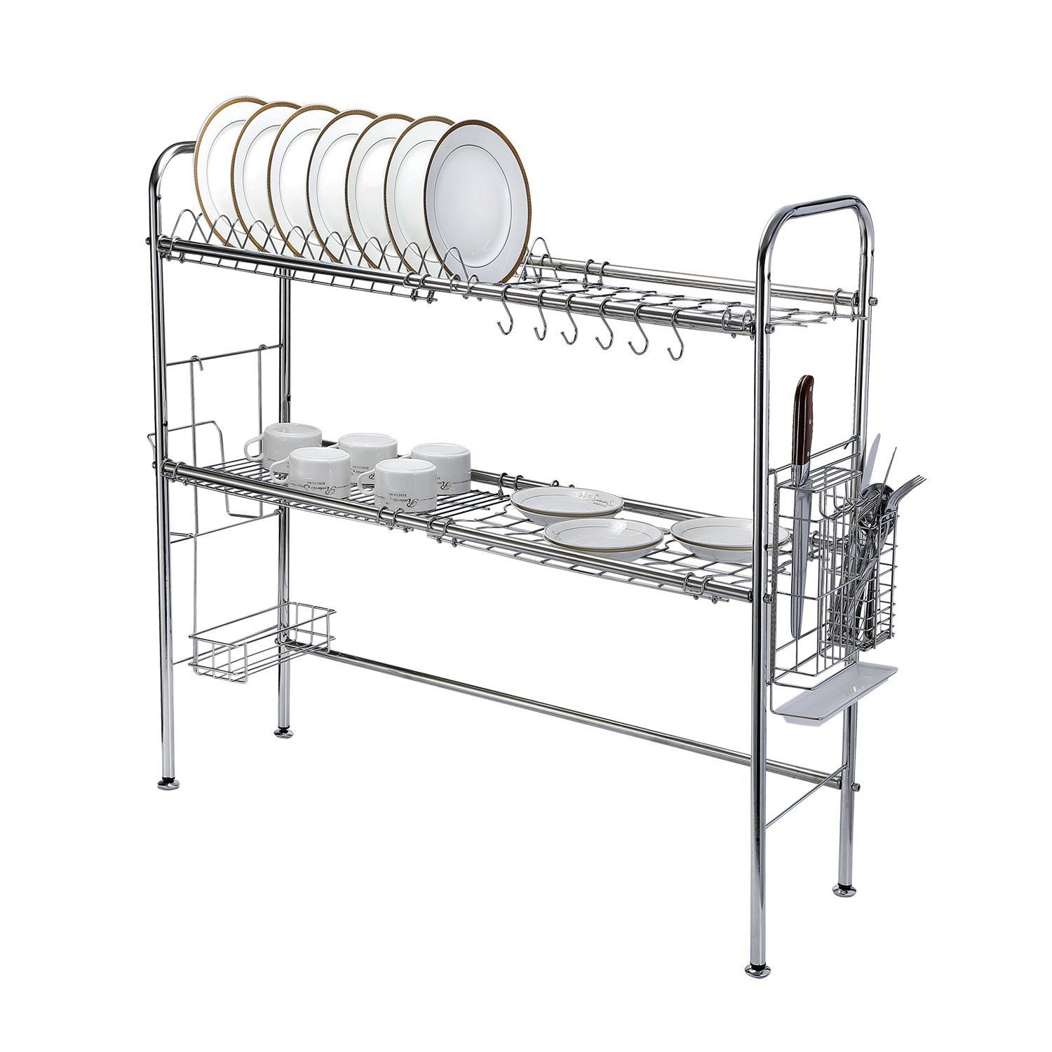 KuanGuang Kitchen Stainless Steel 2 Tier Dish Drainer Rack Holder  Organization Shelf Over The Sink