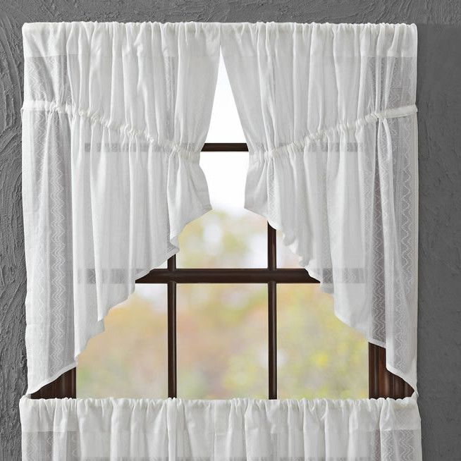 """Sheer Dobby Weave Prairie Swag Unlined 36"""" Curtain Valance"""