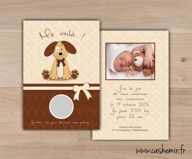 Faire-part naissance bébé original à gratter n°4 chien : Faire-part par cashemir